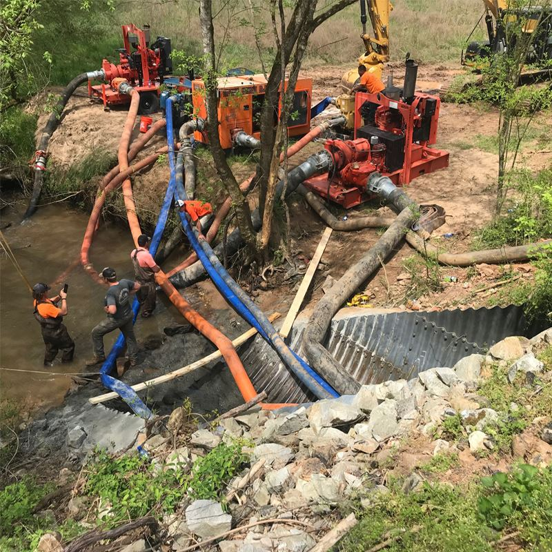Crews work on the culvert on Claude Parks Road.
