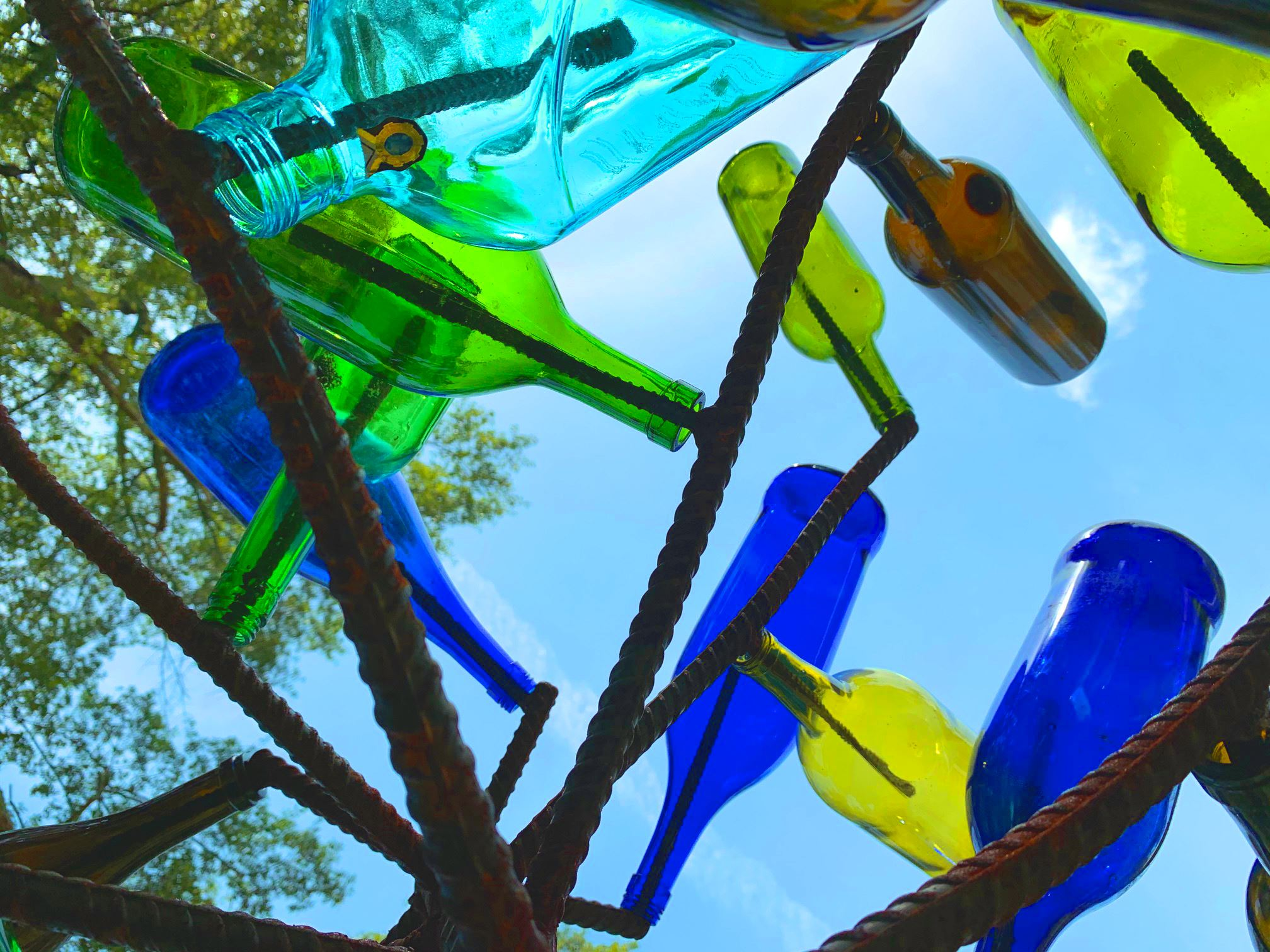 The bottle trees sit along the trail in the Chicopee area.