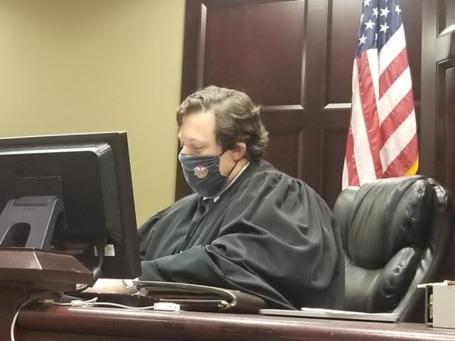 Judge Clint Bearden at a night court session